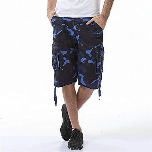 Pantaloni Ragazzo Spiaggia Uomo Vintage Bermuda Moda Locker Camouflage Cargo Blau Pantaloncini Casual Multitasche qfntwgw1W