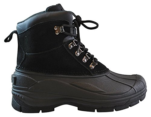 totes Mens Tommy Black Snow Boot Lace up Ankle Leather Totally Cold Weather Lightweight Footwear Size - 10