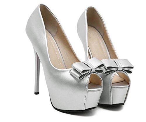 Femmes Mince avec Court Chaussures Bow xie Hauts Peep Simple Chaussures Hauts Femmes Talons Talons Sandales Toe FwxqdnUX