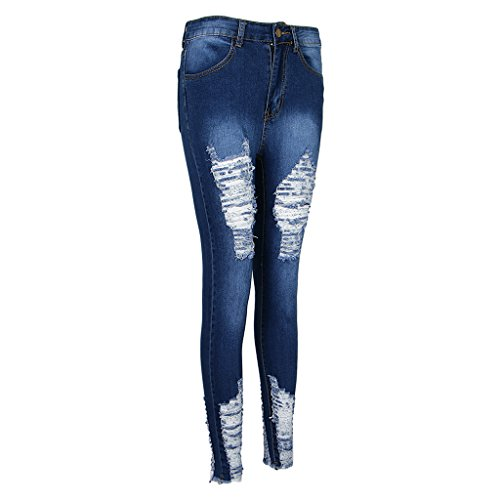 P Vintage Vintage Pants Collants Prettyia Trous Jeans Femmes Bleu Slim 3XL S Crayon Pantalon rrIpq