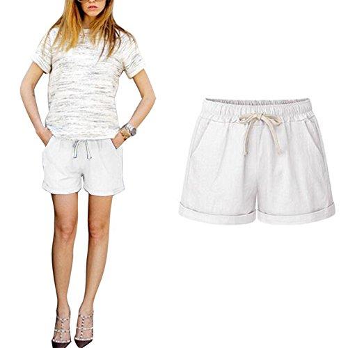 Shorts Tinta Vita Fit Donna Moda Elastica Unita con Loose M Comodi Casuale 6XL Corti Pantaloni Pantaloni bianca Cordoncino BwnnYqP0
