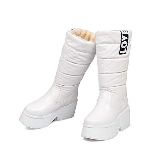 1TO9 Womens Wedges Solid No-Closure Full-Sole Slouch Synthetic Boots MNS02228 White
