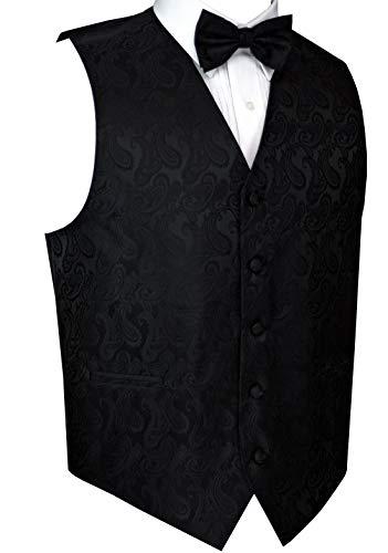 Men's Formal, Prom, Wedding, Tuxedo Vest, Bow-Tie & Hankie Set in Black Paisley - 3XL