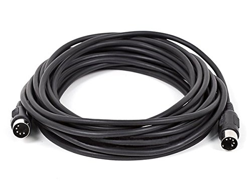 Monoprice MIDI Cable with 5 Pin DIN Plugs, 25-Feet, Black (108536)