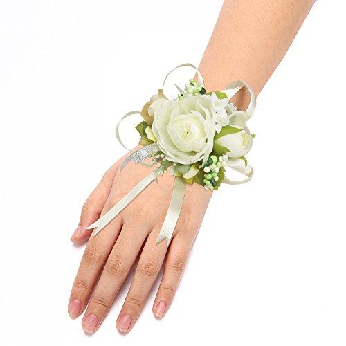 Wrist Corsage Flower Elastic Band Wedding Prom Party - 7