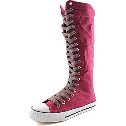 Damestas Damesschoenen Mid-kalf Lange Laarzen Casual Sneaker Punk Flat, Fuchsia Boots, Lichtbruin Kant