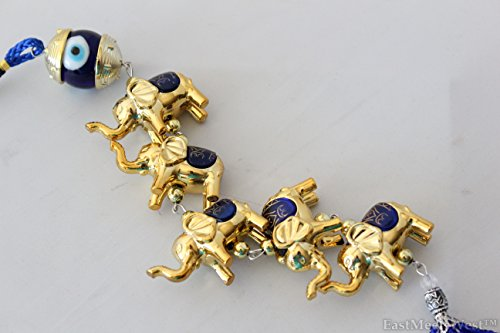 5 Golden Elephants Blue Glass Bead Evil Eye Feng Shui Glass Bead Turkish Good Lucky Hanging - Car Charm Elephant Lucky