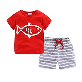 Mud Kingdom Baby Boys Short Clothes Sets Beach Outfits Holiday 12 Months Red