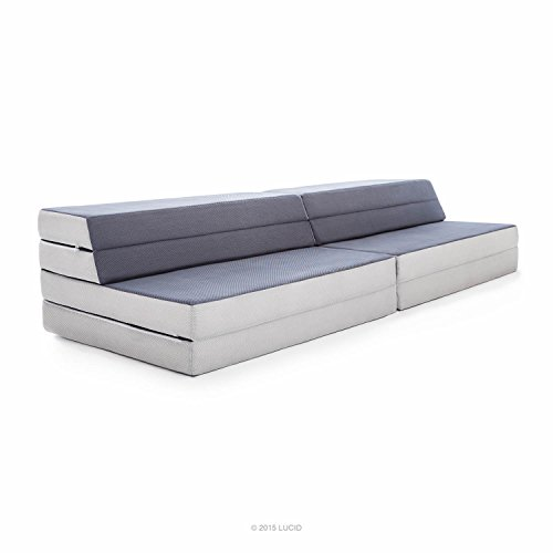 LUCID King / Twin XL Convertible Folding Foam Mattress Sofa   Folds To 8  In. Twin XL Mattress, 4 In. King Mattress Or A Sofa
