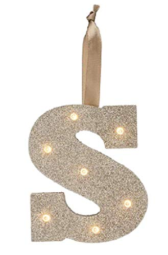Gold Glitter Light UP Letters LED Marquee Wooden Alphabet Letter S - Lights for Festival Decorative Decor Nursery, Party, Wedding (Wall or Table Top) Monogram Initial (S)