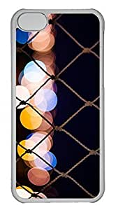 LJF phone case iPhone 5c Case Unique Cool iPhone 5c PC Transparent Cases City Lights 8 Design Your Own iPhone 5c Case