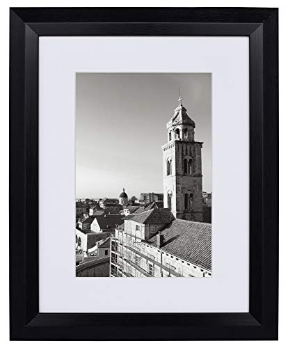 12x16 Raised Black Frame - White Mat for 8x12 Pictures - Wide High Rise Molding - Wood Grain Finish - Wall Mounting - Portrait/Landscape - Tempered Glass ()