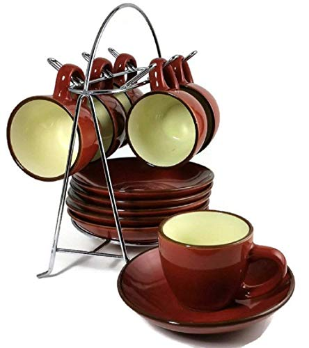 IMUSA, A120-22122, Espresso Set with Rack, 12 Piece, Red -