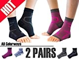 Thirty48 Plantar Fasciitis Socks, 20-30 mmHg Foot Compression Sleeves for Ankle/Heel Support, Increase Blood Circulation, Relieve Arch Pain, Reduce Foot Swelling (Black & Pink (2 Pairs), Small)