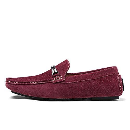 Tentoes Hombres Casual Driving Mocasín Mocasín Zapatos Vino Rojo