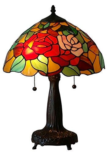 Jeweled Rose Stained Glass - Amora Lighting Tiffany Style AM031TL14 Roses Table Lamp 14 Inches Wide