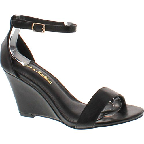 Mark and Maddux Elisha-13 Wedge Sandal in Black,Black,9
