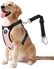 VavoPaw Dog Vehicle Safety Vest Harness, Adjustable Soft Padded Mesh Car Seat Belt Leash Harness with Travel Strap and Carabiner for Most Cars