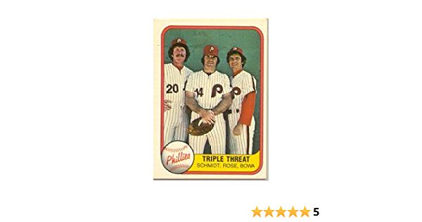 1981 Fleer Pete Rose//Larry Bowa//Mike Schmidt Baseball Card #645 Shipped In Protective Display Case!