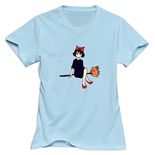 GYKU Women's Kiki Delivery Service T-Shirt SkyBlue US Size XS,100% Organic Cotton
