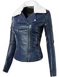 Amazon.com: Blue - Leather & Faux Leather / Coats, Jackets & Vests ...