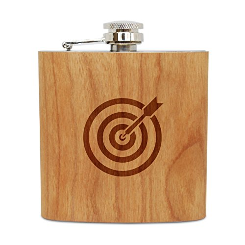 WOODEN ACCESSORIES COMPANY Cherry Wood Flask With Stainless Steel Body - Laser Engraved Flask With Archery Target Design - 6 Oz Wood Hip Flask Handmade In USA