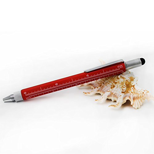 Universal Stylus Refill (6 in 1 Multitool Pen with Gift Box - Includes 1 Ballpoint Pen, Universal Stylus Pen, Ruler,Flat and Phillips Screwdriver Bit, Level Gauge - The Perfect Multi-Function Gadget (Red))