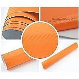 3,22€/m² 3D Carbon Folie - Orange - 30 x 152 cm selbstklebend flexibel Car Wrapping Folie