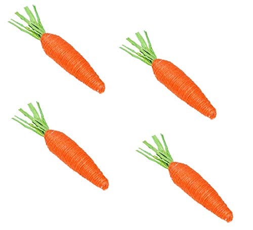 Happy Easter Jute Carrot Decor (Pack of 4 Carrots) Easter Party Table Centerpiece Decorations, Gifting -