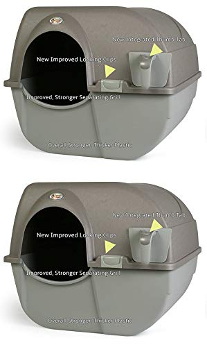 Omega Paw NRA15-1 Improved Roll 'n Clean Self Cleaning Litter Box, Regular, Pewter (2.(Pack))