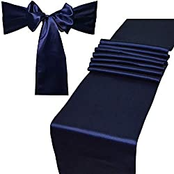 Combo Pack - 2 Satin Table Runners 12 x 108 inch & 10 Chair Sashes for Wedding Banquet Decoration, Bright Silk and Smooth Fabric Party Decor (Combo 2 Table Runner + 10 Chair Saches, Navy Blue)