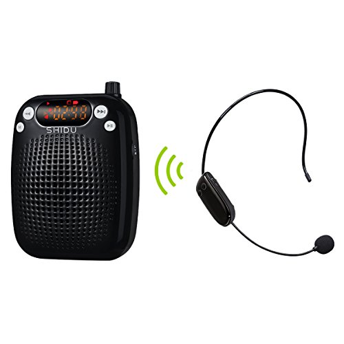 Wireless Voice Amplifier, SHIDU S611 Stable UHF Voice Headset with Microphone 10Watt with 2000mAh Rechargeable Lithium Battery, Crystal Clear Sound for Teaching, Singing, (Digital Uhf Wireless Instrument)