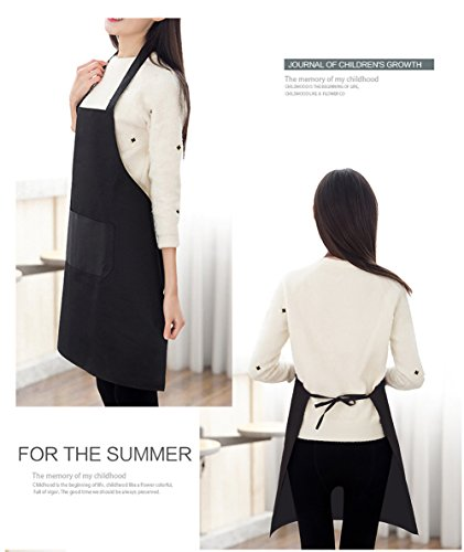 TSD STORY Total 12 PCS Plain Color Bib Apron Adult with 2 Front Pocket (Black) by TSD STORY (Image #4)