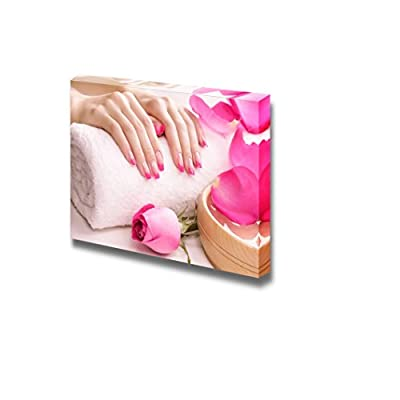Canvas Prints Wall Art - Female Hands with Fragrant Rose Petals and Towel - 24