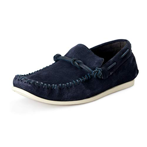 John Varvatos Star USA Men's Leather Clipper Knot Venetian Loafers Shoes US 10 IT 43 Navy Blue