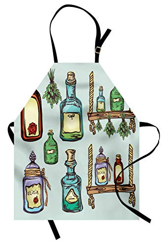 Ambesonne Apothecary Apron, Retro Alchemy Magic Craft Elixir Herbal Cure Chemists Halloween Recreation Theme Unisex Kitchen Bib Apron with Adjustable Neck for Cooking Baking Gardening, Pale Green