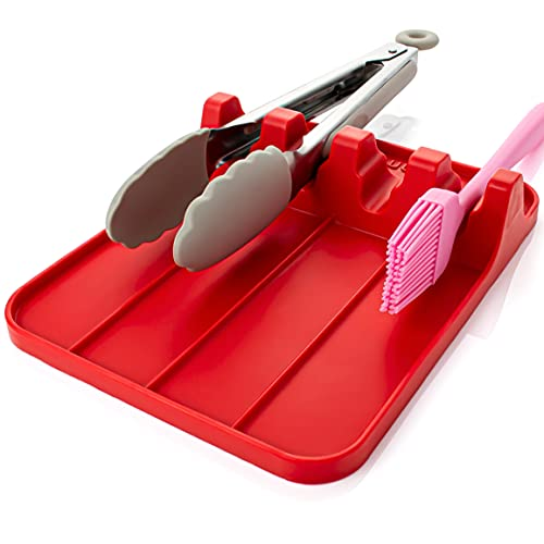 UHMER Silicone Spoon Rest for Kitchen - Large Heat-Resistant Utensil Rest for Countertop, Spoon Holder for Stove Top, BPA-Free (Red)