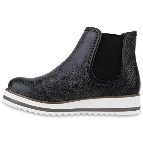 Stiefelparadies Damen Metallic Stiefeletten Chelsea Boots Plateau Schuhe  Strick Zipper Glitzer Booties Profilsohle Lack Plateauschuhe Wedges ... 08cfa3648e