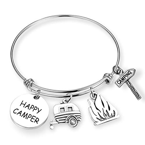 ZNTINA Happy Camper Gift Camp Bracelet Camping Lovers Gift Campers Jewelry Gift Outdoor Gifts Campfire Summer Camp Bracelets Traveler Gift (Happy Camper BR) by ZNTINA