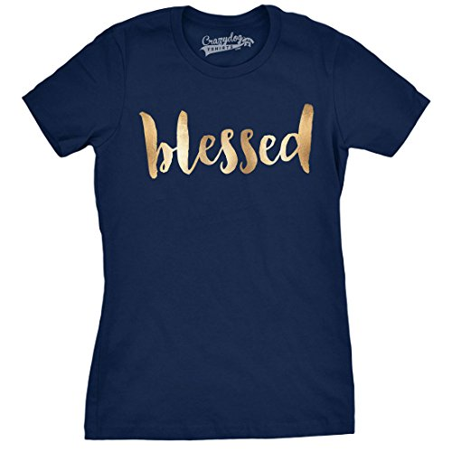 Crazy Dog TShirts - Womens Blessed Gold Shimmer Application Cool Inspirational T shirt for Ladies - Camiseta Para Mujer azul marino