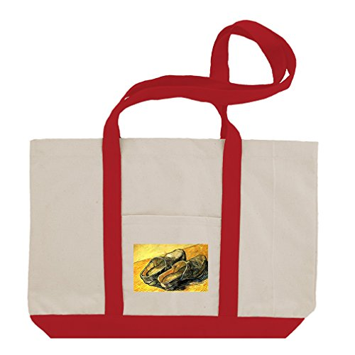 Clogs Leather Pair (A Pair Of Leather Clogs (Van Gogh) Cotton Canvas Boat Tote Bag Tote - Red)