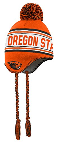 (NCAA by Outerstuff NCAA Oregon State Beavers Toddler Jacquard Tassel Knit Hat w/ Pom, Black, Toddler One Size)