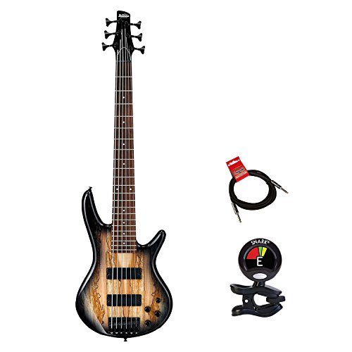 Ibanez GSR206SM 6 String Electric Bass Guitar in Natural Gray Burst With Clip On Guitar Tuner and Guitars Cable (Natural Bass Guitar Electric)