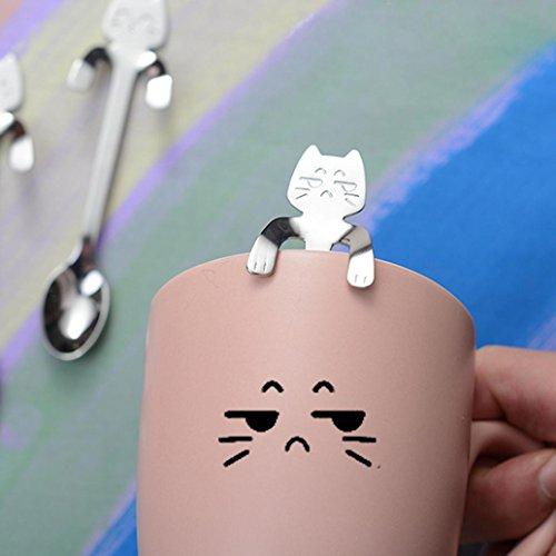 ZTTONE Spoon,Cute Cat Spoon Long Handle Spoons Flatware Coffee Drinking Kitchen Tools (Silver, -