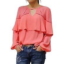 HongyuAmy Women Long Sleeve Blouse Fashion Chiffon Hollow Out White Top Fall Casual Office Shirt