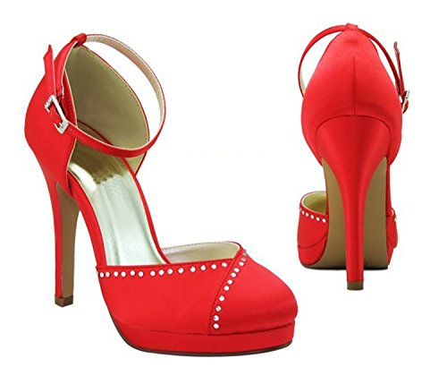 Kevin Fashion gymz675 Ladies Almond Toe satén noche fiesta novia boda bombas zapatos Red