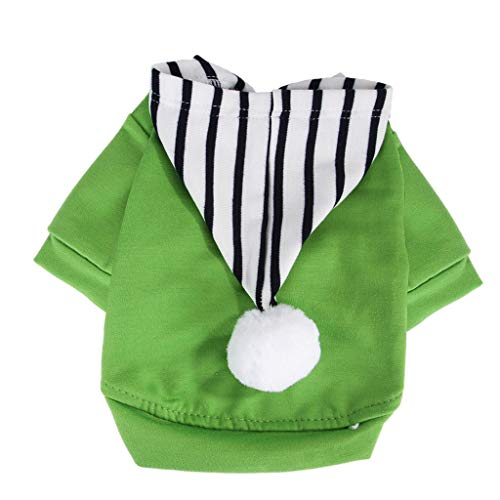 Smdoxi pet Spring and Summer Clothing Cats and Dogs Simple Solid Color Thin Hair Ball Stitching Striped Hooded Sweater ()