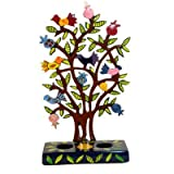 Painted Metal Lazer Cut Shabbat Candlesticks - Pomegranate Tree