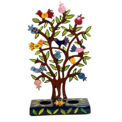 Pomegranate Candlesticks - Painted Metal Lazer Cut Shabbat Candlesticks - Pomegranate Tree