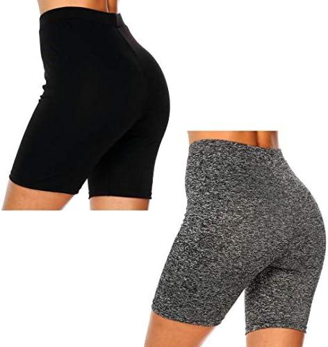 Dynec - Pantalones cortos de ciclismo para mujer, 2 unidades, color negro y gris, para descansar, ejercicio, yoga, moda 3